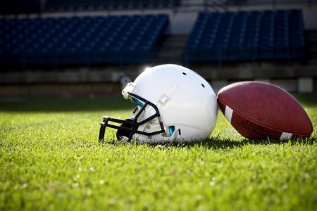 Football Helmet on a stadium field