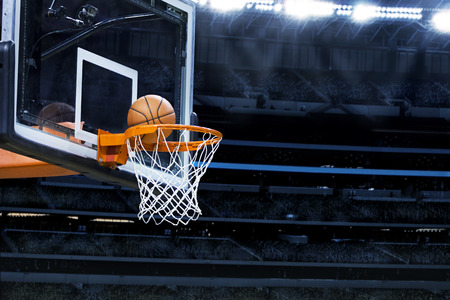 Photo pour Large basketball arena with copy space - image libre de droit
