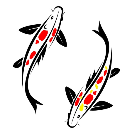 Carp koi with red and Yellow spot on the body