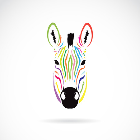 Illustration for Vector image of an zebra head colorful on white background - Royalty Free Image