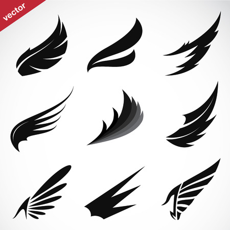 Illustration for Vector black wing icons set on white background - Royalty Free Image
