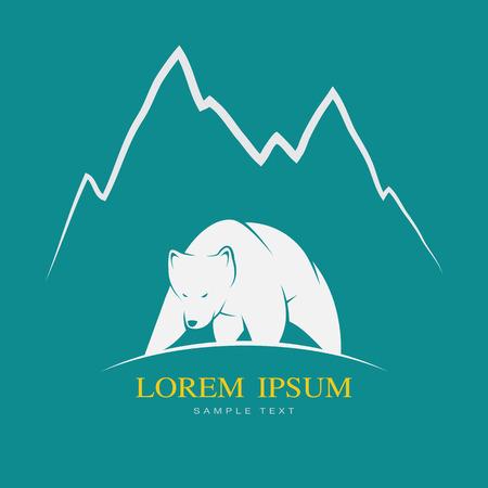 Illustration pour Vector image of a white bear on blue background - image libre de droit