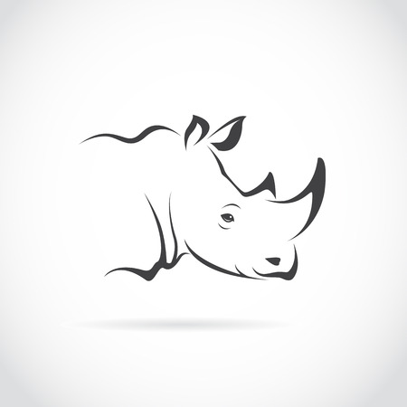 Ilustración de Vector image of rhino head on white background - Imagen libre de derechos