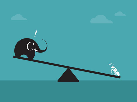 Illustrazione per  Vector image of an elephant and ant. Weighing concept  - Immagini Royalty Free