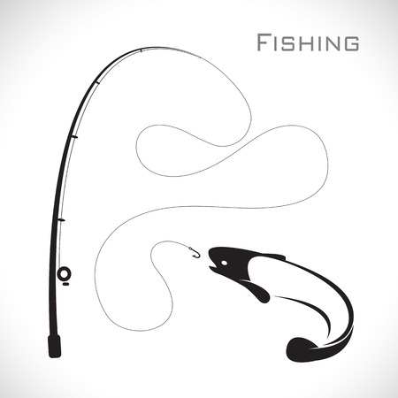 images of fishing rod and fish on white background