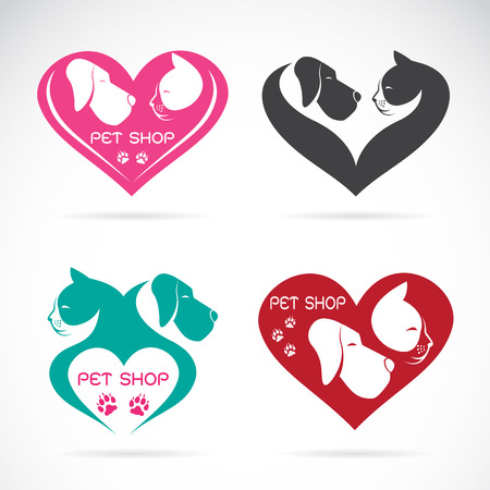 Vector image of an Dog and cat with heart on white background