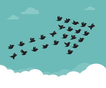 Ilustración de Flock of birds flying in the sky in an arrow, Teamwork concept - Imagen libre de derechos