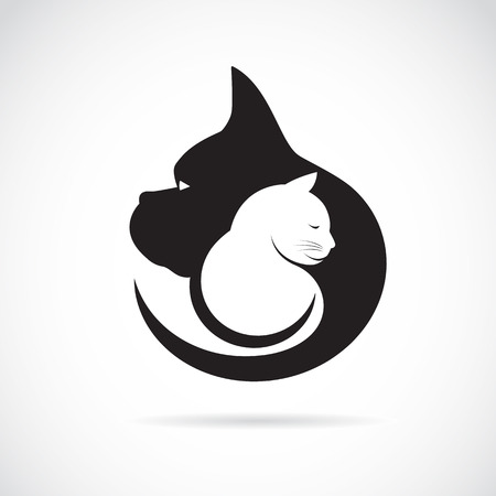 Ilustración de Vector image of an dog and cat on white background - Imagen libre de derechos