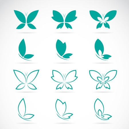 Illustration pour Vector group of butterfly on white background. - image libre de droit