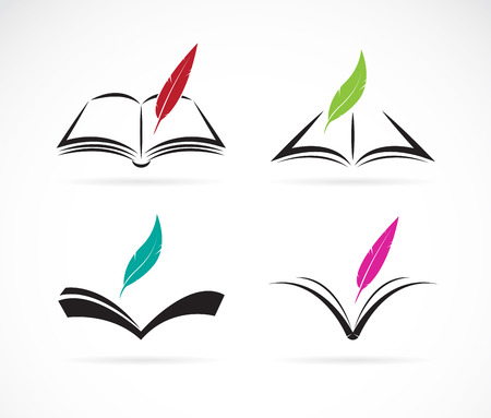 Illustration pour Vector image of an book and feather on white background - image libre de droit