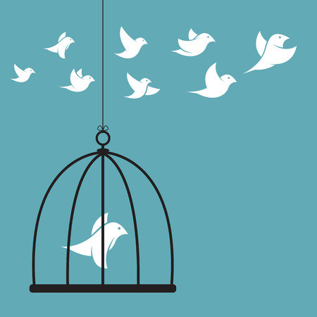 Illustration pour Vector image of a bird in the cage and outside the cage. Freedom concept - image libre de droit