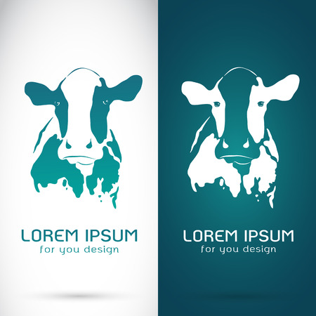 Vector image of an cow on white background and blue background