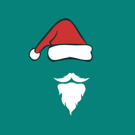 Illustration pour Vector image of an santa hats and beards on blue background. Christmas icon - image libre de droit