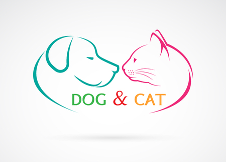 Illustration pour Vector image of an dog and cat on a white background - image libre de droit