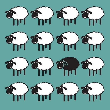 Ilustración de Single black sheep in white sheep group. dissimilar concept - Imagen libre de derechos
