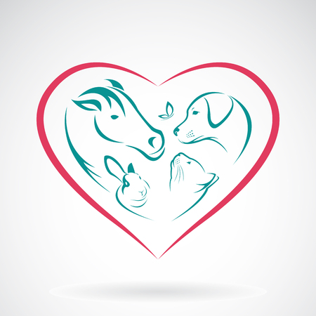 Vector image of animal on heart shape on white background, horse,dog,cat,rabbit,butterfly