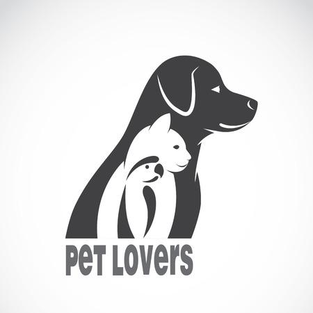 Ilustración de Vector image of an dog cat and bird on white background. Animal pet design - Imagen libre de derechos