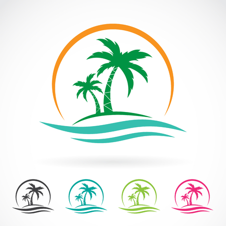 Illustration for Vector image of an palm tropical tree icon on white background. logo design - Royalty Free Image