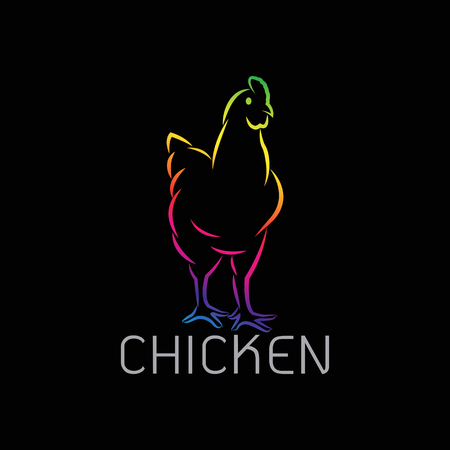 Vector image of an chicken design on black background.