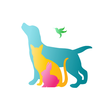 Vector group of pets - Dog, cat, rabbit,  humming bird isolated on white background. / Vector pets for your design.
