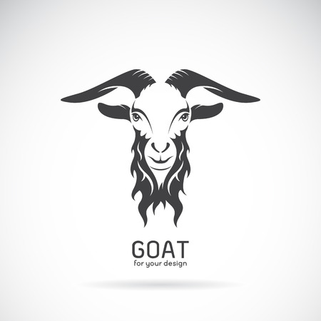 Illustration for Vector image of a goat head design on white background, Vector goat logo. Wild Animals. - Royalty Free Image