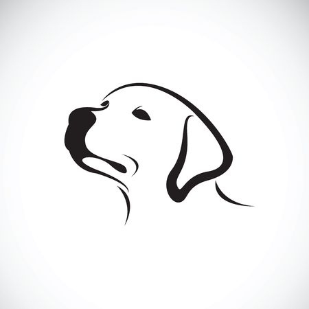 Ilustración de Vector of a dog head(Labrador Retriever) on white background, Pet. Animals. - Imagen libre de derechos