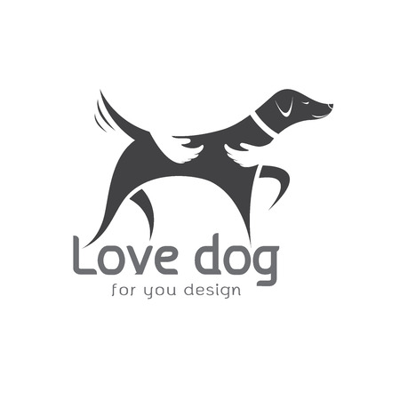 Vector of human hand that hugs the dog on white background. Pet Animal. Dog Icon.