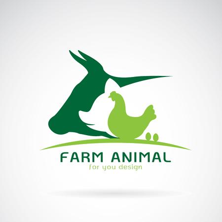 Ilustración de Vector group of animal farm label., Cow,pig,chicken,egg. Logo Animal. - Imagen libre de derechos