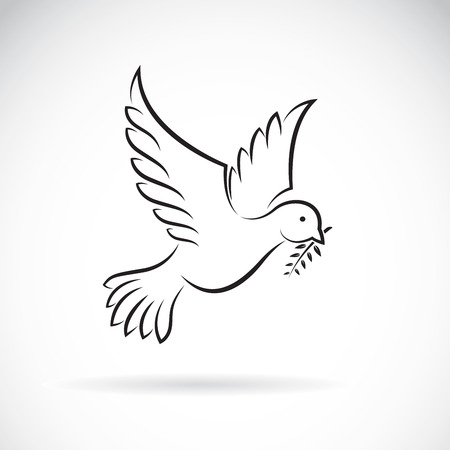 Illustration pour Vector of black dove of peace with olive branch on white background. Bird design. Animals. Easy editable layered vector illustration. - image libre de droit