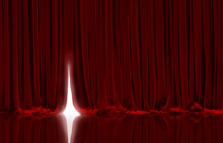 Photo for Opening red curtain on theater or cinema stage. - Royalty Free Image
