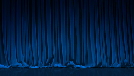 Foto per Blue curtain on theater or cinema stage. - Immagine Royalty Free
