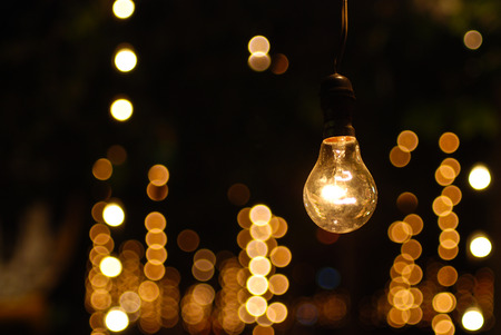 Photo for the one bulb light stand alone with many bokeh - Royalty Free Image