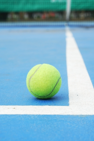 tennis ball at cornerof end line