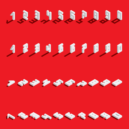 Illustration for Vector set with isometric numbers from 1 to 9 and 0 in various foreshortening. White digits with fallen shadow on bright red background. - Royalty Free Image