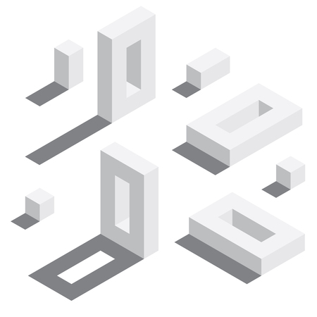 Illustration for Zero number in isometric style. White on white digits with shadows. Educational set. - Royalty Free Image