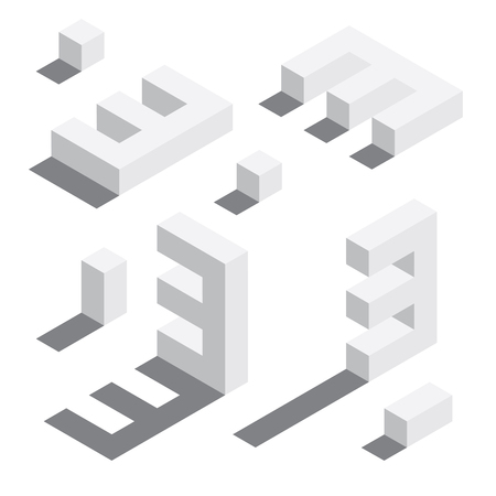 Illustration for Number 3 in isometric style. White on white digits with shadows. Educational set. - Royalty Free Image