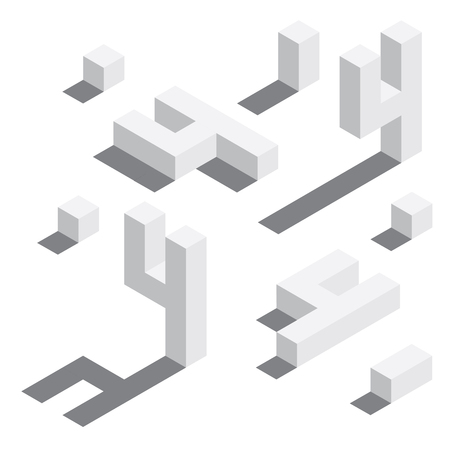 Illustration for Number 4 in isometric style. White on white digits with shadows. Educational set. - Royalty Free Image