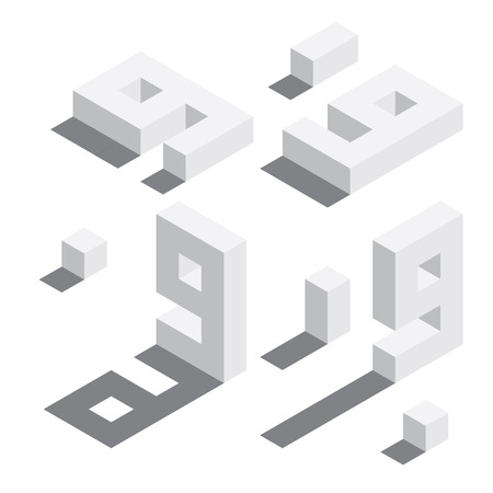 Illustration for Number 9 in isometric style. White on white digits with shadows. Educational set. - Royalty Free Image