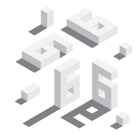 Illustration for Number 6 in isometric style. White on white digits with shadows. Educational set. - Royalty Free Image