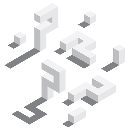 Illustration for Number 7 in isometric style. White on white digits with shadows. Educational set. - Royalty Free Image