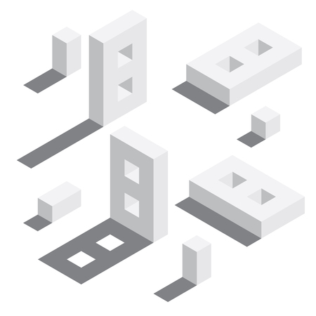 Illustration for Number 8 in isometric style. White on white digits with shadows. Educational set. - Royalty Free Image