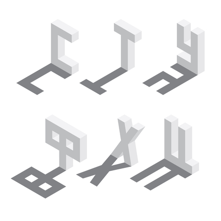 Illustration for Isometric russian alphabet sequence, six letters of cyrillic font. White on white background with shadow. - Royalty Free Image