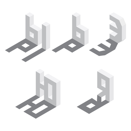 Illustration for Isometric Russian alphabet sequence, five letters of Cyrillic font vector illustration - Royalty Free Image