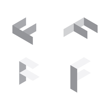 Illustration for Vector isometric letters F in various foreshortening views. Edge outline alphabet. - Royalty Free Image