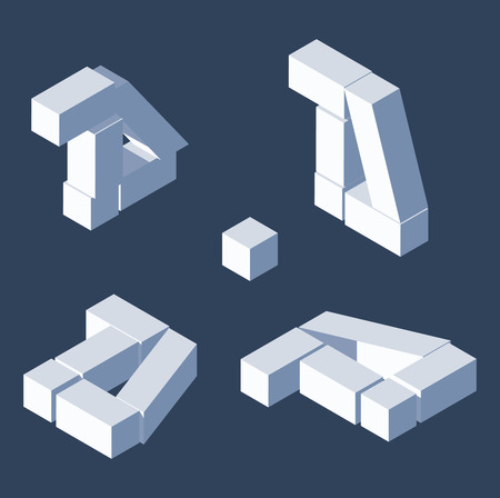 Illustration for Destroyed blocks letters d in various foreshortening. Isometric views, good for writing and lettering. Cube 3d bricks. - Royalty Free Image