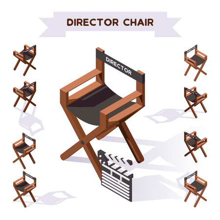 Illustration for Vector 3d illustration with director chair making movie in isometric style. Various foreshortening, shadows. Backstage filming collection. - Royalty Free Image