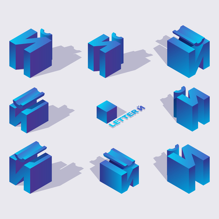 Illustration for Isometric alphabet font English or russian letter Short I or Yot. 3d effect letters, various foreshortening with flat shadows. Stock vector typeface for any typography design. Blue 3d letters - Royalty Free Image