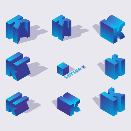 Illustration for Isometric alphabet font english letter K. 3d effect letters, various foreshortening with flat shadows. Stock vector typeface for any typography design. Blue 3d letters - Royalty Free Image