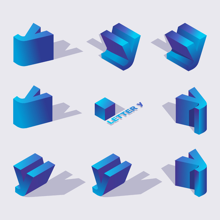 Illustration for Large collection of creative isometric 3d typography design. Russian letter Y in various foreshortening with shadows in blue color. Vector illustration good for icon creation and writing. - Royalty Free Image