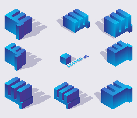 Illustration for Collection of russian cyrillic letters shcha in isometric style. 3d set in blue gradients with shadows. - Royalty Free Image